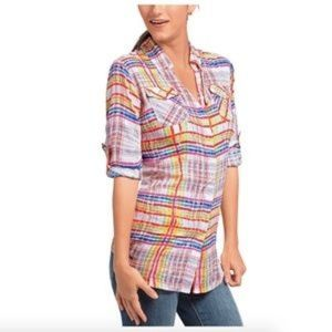 CAbi Soft plaid Cirque tunic Shirt #797 Sz Md